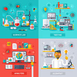 Science Lab, Testing, Analysis, Scientist. Flat design vector illustration concepts of education and science. Square banners with science symbols. Concepts for Royalty Free Stock Image