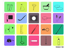 Science lab Vector Icon Set,chemical  icons set,Chemical Laboratory, chemical glassware. vector illustration, Flat design. Stock Photography