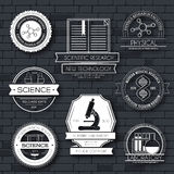 Science label template set. Emblem element for your product or design, web and mobile applications with text. Vector Stock Photography