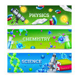 Science Laboratory Equipment Horizontal Banners stock illustration