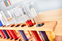 Science laboratory equipments including sample test tubes with l Royalty Free Stock Images