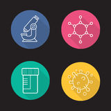 Science laboratory flat linear long shadow icons set. Microscope, molecule and virus structure, medical tests jar. Vector line symbols Stock Image
