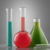 Science laboratory glass equipment with liquid. flasks with colo Royalty Free Stock Image