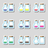 Science laboratory glass flask with various color liquid stickers icons eps10 Stock Photography