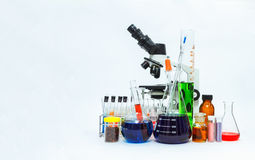 Science laboratory glassware and Microscope ,Group of laboratory Royalty Free Stock Photography