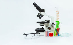 Science laboratory glassware and microscope ,Group of laboratory Royalty Free Stock Photo
