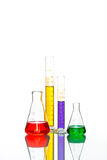 Science Laboratory Glassware, reflective white table Stock Photography