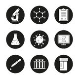 Science laboratory icons set. Microscope, molecular structure, tests checklist, beaker with liquid, virus, lab computer, pipette, test tubes and jar. Vector vector illustration