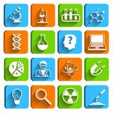 Science Laboratory Icons Set. Science laboratory physics chemistry medical technology pharmacy flat icons set vector illustration Royalty Free Stock Images