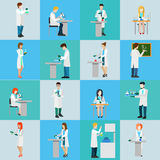 Science laboratory professional people icon set flat vector Royalty Free Stock Photography