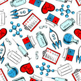 Science and laboratory research seamless pattern. Science, medicine and laboratory research seamless pattern with pills, molecular models, syringes, hearts Royalty Free Stock Image