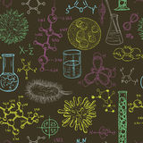 Science laboratory seamless pattern with microbes and viruses. Vintage design set. stock illustration