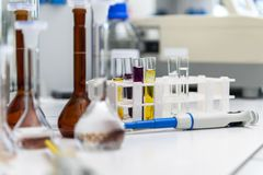 Science laboratory test tubes, laboratory equipment. In medical research center Stock Photos
