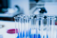 Science laboratory test tubes .medical glassware royalty free stock image