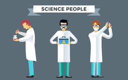 Science laboratory vector people set Stock Images
