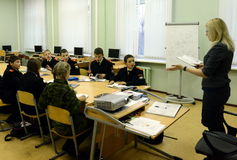 Science lessons in the cadet corps of the police. Stock Photography