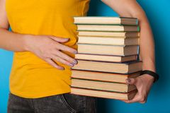Science library education concept, book stack pile.  royalty free stock photo