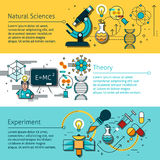 Science Line Banners Set Royalty Free Stock Image