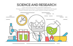Science line flat concept illustration. Royalty Free Stock Images