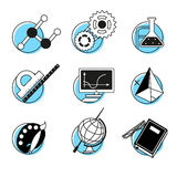 Science linear icons set school lessons Stock Images