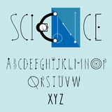Science logo  with decorative font. Science logo  with decorative  font. Top view - bald scientist in glasses reads blueprint Stock Images