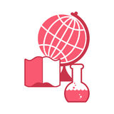 Science logo. Emblem for scientific laboratory. flask and globe. Stock Image