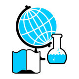 Science logo. Globe and laboratory flask. Book and test tube res Stock Photo