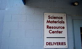 Science Materials Resource Center Sign Stock Photos