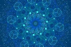 Sacred geometry symbols and elements background stock illustration