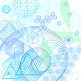 The science and mathematics abstract background. With circles, cube, triangles and a lot of lines. Sacred geometry backdrop. The chemistry and astrology royalty free illustration
