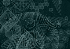 The science and mathematics abstract background. With circles, cube, triangles and a lot of lines. Sacred geometry backdrop. The chemistry and astrology Vector Illustration