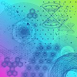 The science and mathematics abstract background. With circles, cube, triangles and a lot of lines. Sacred geometry backdrop. The chemistry and astrology stock illustration