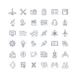 Science, media and internet line vector icons set Royalty Free Stock Photos