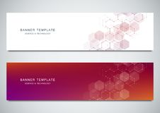 Science, medical and digital technology banners. Geometric abstract background with hexagons. Science, medical and digital technology banners. Geometric Stock Images