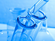 Science and medical glassware and test tube. Stock Photo