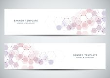 Science, medical and technology banners. Molecular and chemical structure backgrounds. Science, medical and technology banners. Molecular and chemical structure Vector Illustration