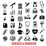 Science and medicine flat icons Stock Image