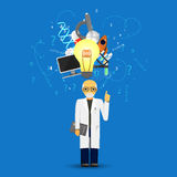 Science and medicine infographic on blue background.(big idea la Stock Photos