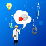 Science and medicine infographic on blue background.(big pills i Stock Photo