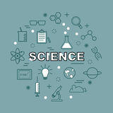 Science minimal outline icons Royalty Free Stock Photo