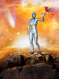 Science, Technology, and Nature. Abstract concept of science versus nature. A female woman robot stands in awe of the cosmos, galaxy, and heavens while looking Royalty Free Stock Image