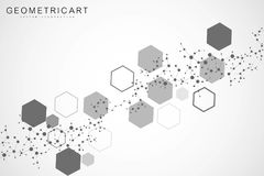 Science network pattern, connecting lines and dots. Modern futuristic virtual abstract background molecule structure for. Medical, technology, chemistry royalty free illustration