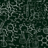 Science old chemistry laboratory seamless pattern. Vintage vector background sketchy style royalty free illustration