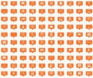 Science orange message icons set Stock Photo