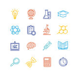 Science Outline Colorful Icons Set. Vector Royalty Free Stock Images