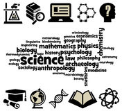 Science. Overview of the different fields of science Royalty Free Stock Image