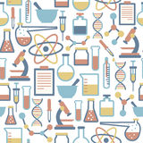Science pattern. Seamless pattern with flat science icons