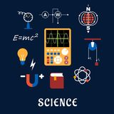 Science physics flat icons set Royalty Free Stock Photo