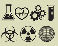 Science and physics related icons on black. Vector illustration. Science and physics related icons in black. Vector illustration Stock Image