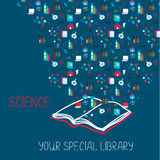 Science placard with book and information symbols Stock Photos